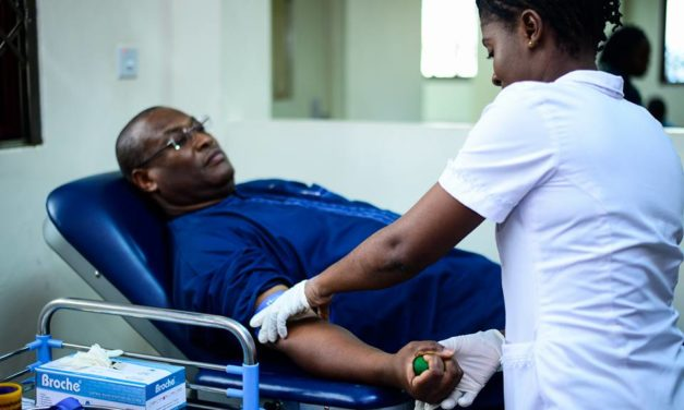 Hon. Alex Segbefia Donates Blood on World Blood Donors Day