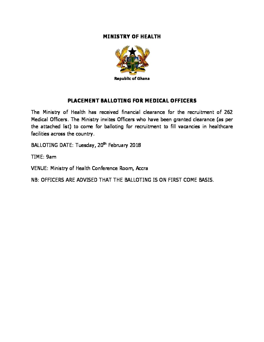 PLACEMENT BALLOTING FOR MEDICAL OFFICERS