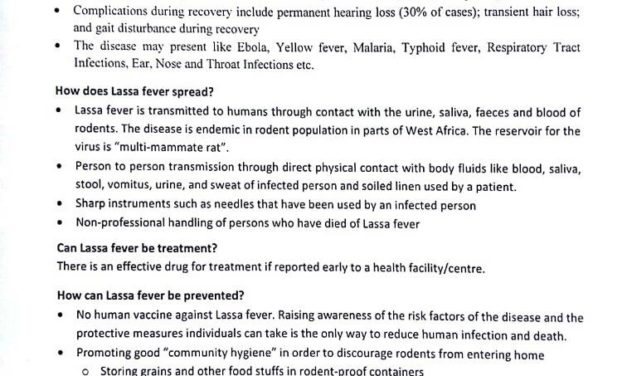 General information on Lassa Fever