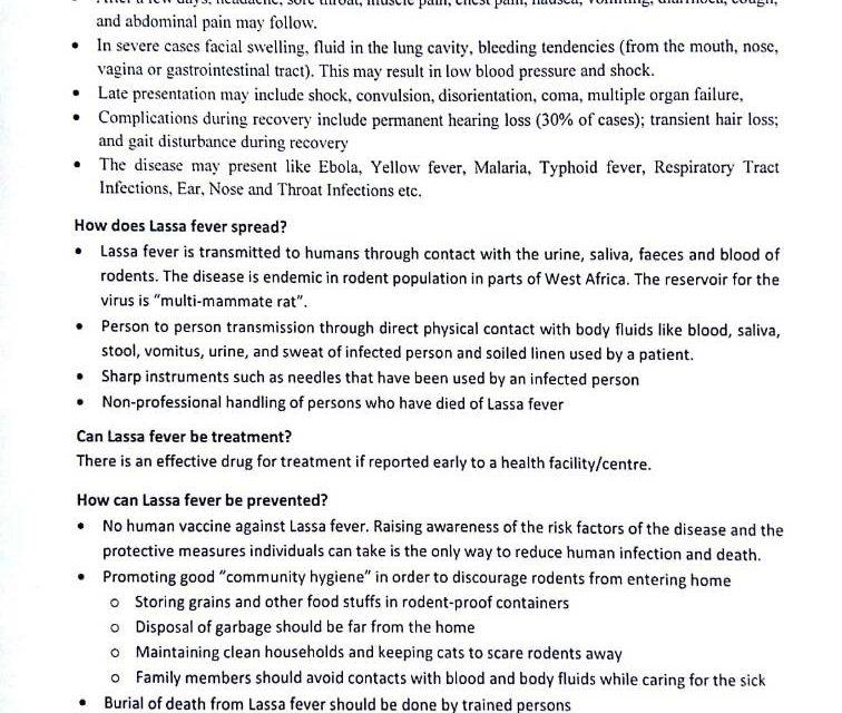 General information on Lassa Fever