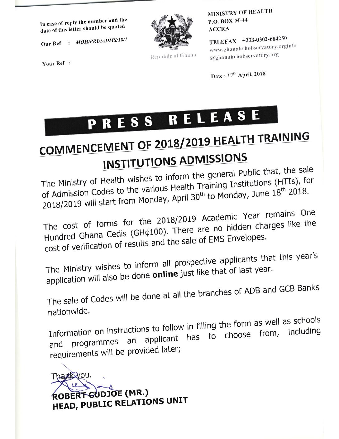 Commencement of 2018/2019 Health Training Institutions Admissions