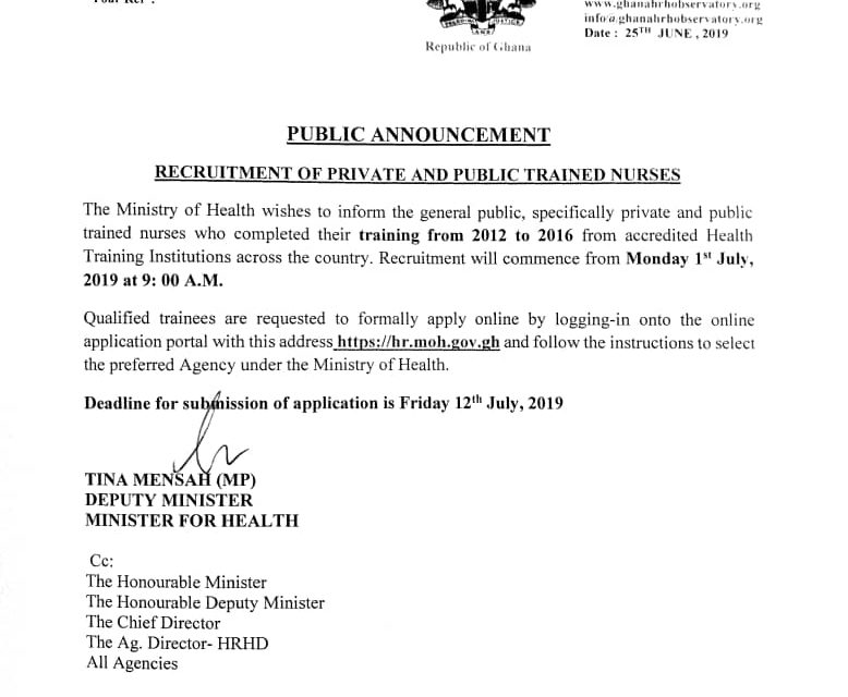 Recruitment of Private and Public Trained Nurses
